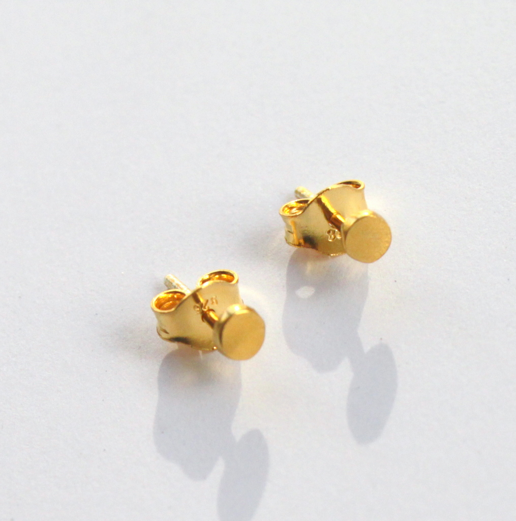 gold earrings simple small cross dogeared dipped stud